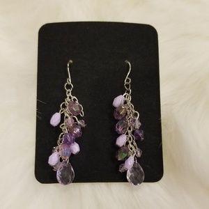 Purple Dangling Hook Earrings